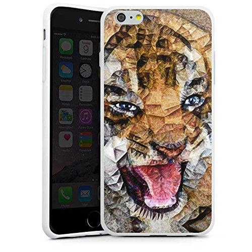 Apple iPhone X Silikon Hülle Case Schutzhülle Angry Cat Tiger Katze Silikon Case weiß