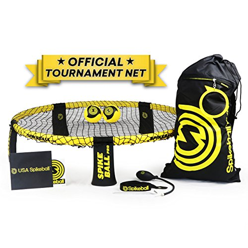 Spikeball Pro Kit (Tournament Edition) – inkl. stärker Spielen Net, neue Bälle können Spin, tragbar Ball Pumpe, Rucksack, Offizielle Servieren Line – AS SEEN ON Shark Tank TV Rampe Trampolin