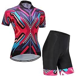 Equipación de ciclismo para mujer con flores de Gwell. Camiseta de manga corta y pantalón corto con almohadilla para sillín, color rojo-1, tamaño L = Etiqueta XL