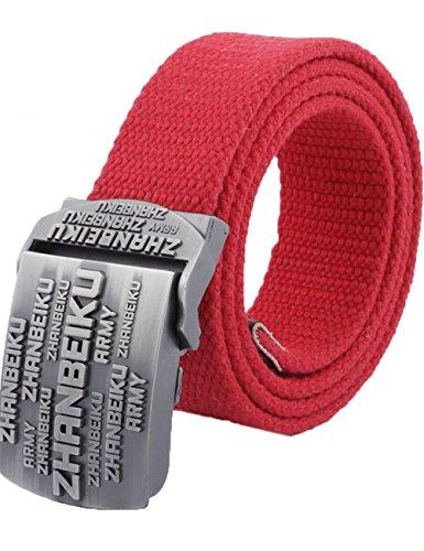 menschwear-mens-adjustable-cotton-canvas-belt-metal-buckle-military-style-53-140cm-red