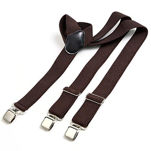 Bretelle dondon uomo larghe 3,8 cm - 3 clips a y resistenti - elastiche con regolabili - marroni