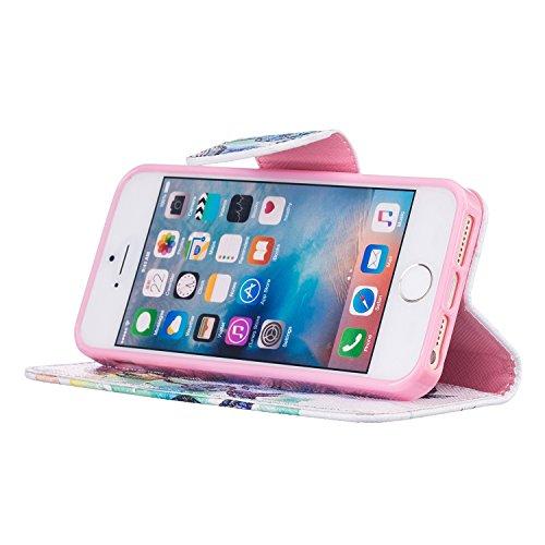 MOONCASE iPhone SE Coque, [Grim Reaper] Modèle Housse Pochette en Cuir Etui à rabat portefeuille [Porte-cartes] TPU Case avec Béquille pour Apple iPhone 5 / 5S / SE Dreamcatcher