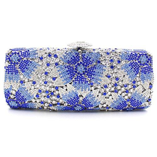 Damen Clutch Abendtasche Handtasche Geldbörse Glitzertasche Strass Kristall Elegent Blume Lang Tasche mit wechselbare Trageketten von Santimon(12 Kolorit) Blau 01