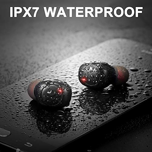 Auriculares Bluetooth, iporachx Auriculares Inalámbricos Bluetooth 5.0 IPX7 Impermeable TWS Auriculares Deporte con Caja de Carga y Micrófono, Hi- Fi Graves Profundos Sonido Estéreo, Control Tactil