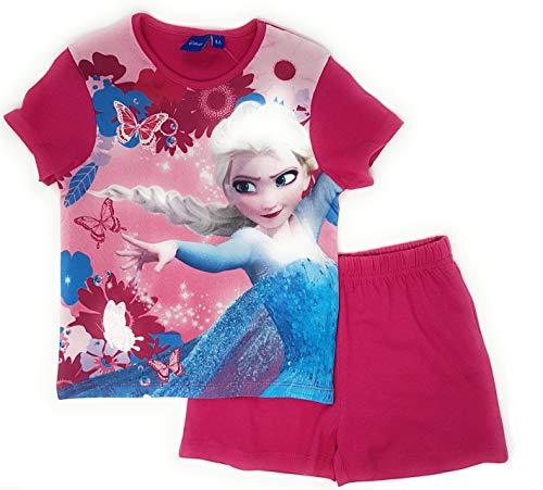 Frozen Pyjama Schlafanzug Die Eiskönigin 104 110 116 128 Schlafanzug Shortie Kurz Anna und ELSA Shorty (Pink, Gr. 116 (5-6 Jahre))