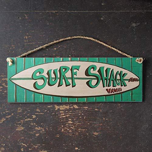 Zhaoshoping Vintage Surf Shack Schild Hawaii Surf Art Tropical Beach Vintage mit Manila Seil Aufhänger Holz Schild Hütte Wanddekoration Schild