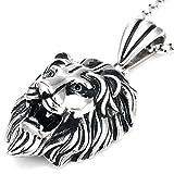 DonDon Herren Halskette Löwen Anhänger Edelstahl im Schmuckbeutel