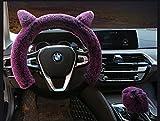 Nuobo 3 x Winter-Lenkradbezüge für Damen, warm, Plüsch, süße Katzenohren, Auto-Handbremse, Schalthebelüberzug, Universal 38,1 cm, violett