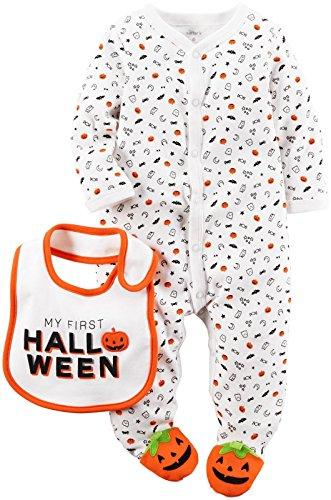 Body und Lätzchen-Set Halloween 2-teilig weiß, weiß, 119G108 ()