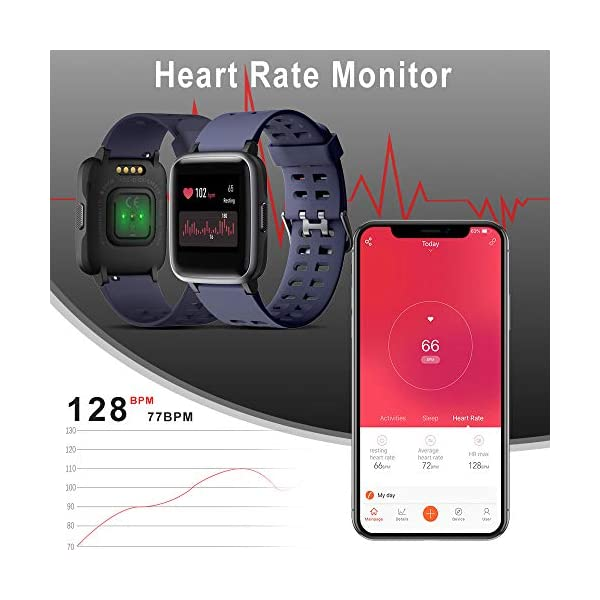 Smartwatch, 5ATM Impermeable Reloj Inteligente Hombre Mujer, Pulsera Actividad Inteligente Reloj Deportivo Reloj Fitness con Pantalla Táctil Completa Pulsómetro Cronómetros para iPhone iOS Android 6