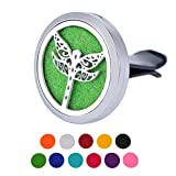HOUSWEETY Dragonfly Car Air Freshener Aromatherapy Essential Oil Diffuser Locket With Vent Clip - 11 Refill Pads