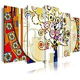 DekoArte Cuadro Moderno de 5 Piezas con Diseño Abstracto Árbol de la Vida Gustav Klimt, Tela, Multicolor, 200x3x100 cm