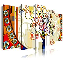 DekoArte 244 - cuadro moderno 5 piezas XXL arbol de la vida estilo gustav klimt, 200x3x100cm