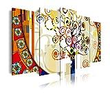 Dekoarte 244 - Quadro moderno su tela montato su telaio in legno di 5 pezzi XXL, stile astratto L'albero della vita di Gustav Klimt, 200x100cm