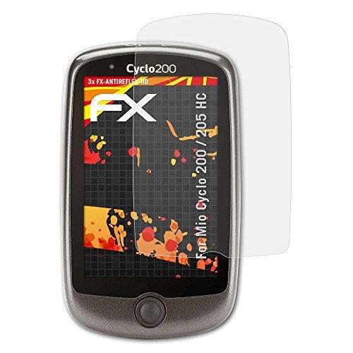 atFoliX Schutzfolie kompatibel mit Mio Cyclo 200/205 HC Bildschirmschutzfolie, HD-Entspiegelung FX Folie (3X)