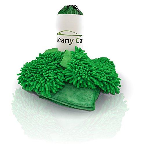 Profi Auto Wasch Set 2x Autowaschhandschuh aus Chenille-Microfaser und 1x Microfas...