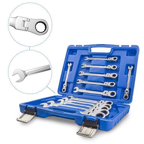 12tlg Gelenk Ratschenschlüssel Set 8-19mm Werkzeug 12 tlg
