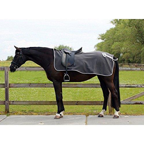 QHP Nierendecke Fleece-Ausreitdecke Ornament Fleecedecke Sattelausschnitt hinten mit Ornament in Silber (grau, XL)