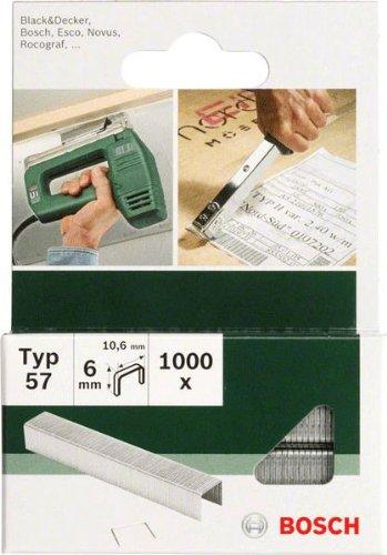 Bosch 2609255845 Set de 1000 agrafes à fil plat Type 57 Largeur 10,6 mm Epaisseur 1,25 mm Longueur 6 mm
