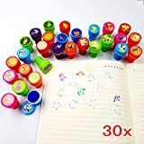 JZK Farm animal + dinosaur + wild animal, 30 ink stamps for kids stamp set self inking stamper for children birthday party bag filler party favour Christmas stocking filler