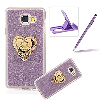 For Samsung Galaxy A5 2017 Cover,For Samsung Galaxy A5 2017 Rubber Case,Herzzer Super Slim [Purple Gradient Color Changing] Dust Resistant Soft Flexible TPU Bling Glitter Protective Case with 360 Degree Ring Grip Holder Stand for Samsung Galaxy A5 2017 + 1 x Free Purple Cellphone Kickstand + 1 x Free Purple Stylus Pen