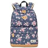Blumen Rucksack Mode Floral Schulrucksack Daypacks für Mädchen Schule Reiserucksack (Blau)