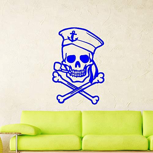 guijiumai Dctal Schädel Halloween Sailor Aufkleber Punk Death Decal Devil Poster Name Autofenster Kunst Wandtattoos Parede Decor Mu 7 58x85cm
