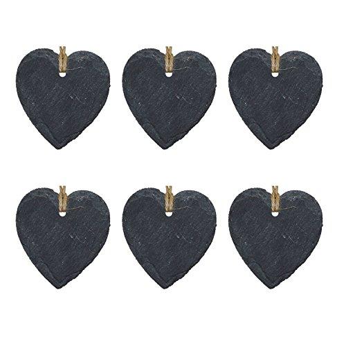 Étiquette en ardoise - en forme de cœur - décoration à accrocher - petite taille - lot de 6