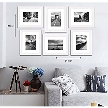 """Art Street Decorative Set of 6 Individual Wall Photo Frame (8"""" X 10"""" Picture Size matted to 6"""" x 8"""") - White"""