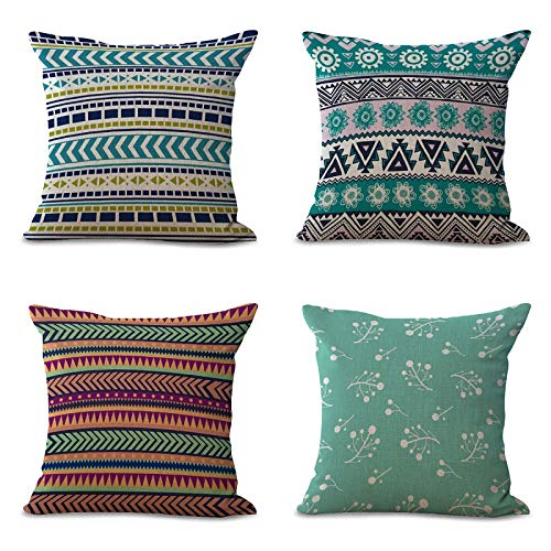 Warmcasa 4 pezzi federe cuscini per divano letto decorativo in cotone e lino copricuscini geometria stile 45x45cm multicolore
