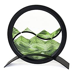 Desktop Mesmerizing Yin-Yang Motif Round Sand Picture, Green Color