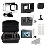 Kupton Zubehör Kit für GoPro Hero 5 Schwarz Reisetasche Small + Gehäuse Case + Displayschutzfolie + Objektivdeckel + Silikon Schutzhülle für Go Pro Hero5 Outdoor Sport