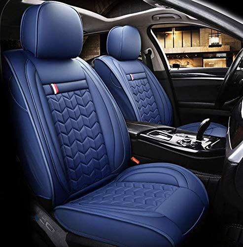 TUNBG Four Seasons Ledersitzbezug, umweltfreundlich, abriebfester, wasserdichter Sommersitzbezug für die meisten Fünfsitzer, schwarz,Blau - Matrix Auto Sitzbezüge Toyota