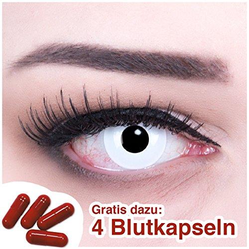 Farbige Funnylens Kontaktlinsen weiss weiße jahres Motivlinsen mit Kontaktlinsenbehälter + 4 Blutkapseln. Perfekt zu Halloween, Karneval und Fasching.