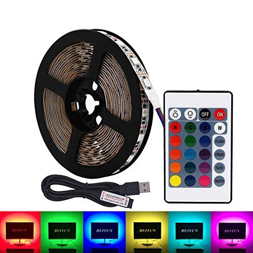Luz de tira LED RGB USB, 5M 60leds/m DC 5V 5050 RGB Colorido LED de iluminación con 24Key remoto para TV Iluminación de fondo, cinta de luz, cuerda de iluminación, Cocina Led Iluminación Decoración cinta LED Tira de la lámpara (No resistente al agua)