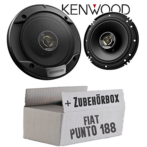 Lautsprecher Boxen Kenwood KFC-S1676EX - 16cm 2-Wege Koax Auto Einbauzubehör - Einbauset für FIAT Punto 2 188 Front - JUST SOUND best choice for caraudio