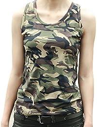 HuntGold ?Nouvelles Femmes Coton Sans Manches Armée Camouflage Débardeur O col Chemise Slim Mini gilet