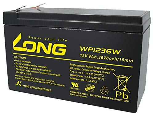 Kung Long Blei Akku 12V 9Ah WP1236W hochstrom Bleigel AGM, kompatibel MP1236H, NPW45-12, HR1234WF2, UP-RW1245P1