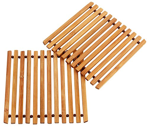 HOKIPO Bamboo Coaster / Pan Pot Holder Heat Insulation Pad, Square 5.25 x 5.25 inch, 2 Piece Set  available at amazon for Rs.179