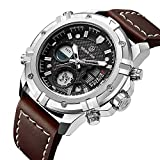 Herren Sport Digital Analog Quarz Armbanduhr, Männer Leder Militär Chronograph Wasserdicht LED Stoppuhr Multifunktions Dual Display Wasserdicht Casual Uhren