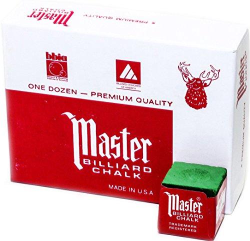 Master Billard/Pool Queue Kreide Box, 12Würfel, grün (Talkum-pulver)