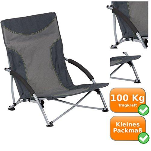 Bequemer Campingstuhl, Tragkraft bis zu 100 Kg, breite Standfüße - somit auch ideal für weichen Boden(Grau, Einzeln)