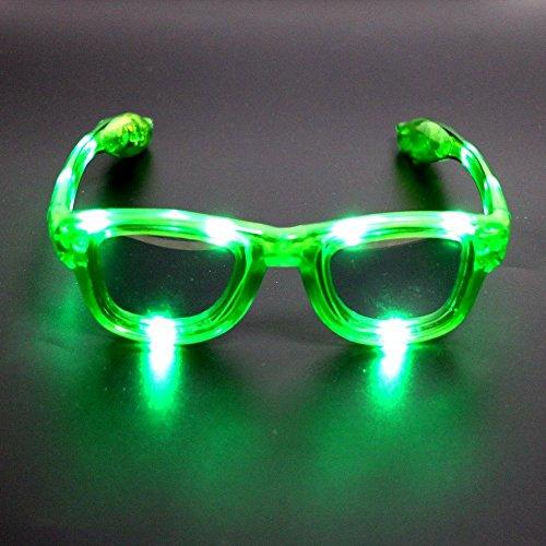 Atcket (Gr¨¹n) LED blinkt Sonnenbrille in 4 verschiedenen Farben Unisex f¨¹r Erwachsene und Kinder / LED leuchten Gl?ser f¨¹r Party