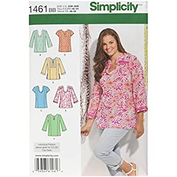 Simplicity 1461 Size BB Misses and Plus Tunic with Neckline and ...