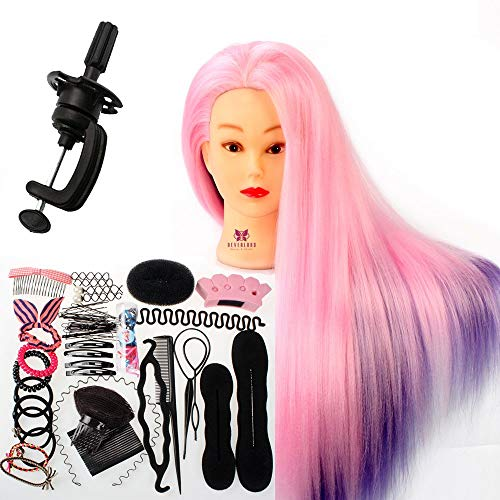 "Neverland Beauty Übungskopf Friseur 24"" 100% Synthetik haar Trainingskopf Frisurenkopf Trainingsköpfe Puppenkopf für Friseure Mit Halter + DIY Haar Styling Set"