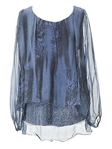 TEXTURE ONLINE Ladies Women Italian Lagenlook Quirky Long Sleeve Sequin Hem Bottom Snake Print Silk Tunic Top Blouse One Size Plus UK 14-20 (One Size Plus, Cornflower Blue)