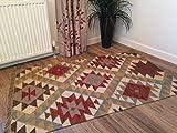 Second Nature Kazak Geometrische Flachgewebe Wolle Jute Kelim Teppich–90cm x 150cm