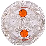 GS Museum silver plated roli chawal Orange diamond plate 1 pc(10Cmx4Cmx10Cm)
