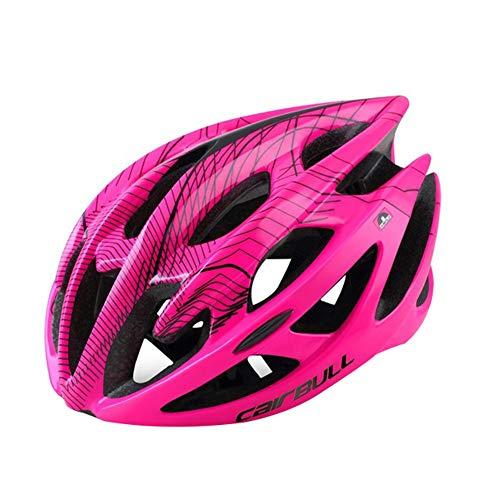 Ebestus Traspirante Casco Bici con Luce, MTB Mountain Road Bici Outdoor Uomo Donna Bimbo Ciclismo Sicurezza Casco cap - Rosa M