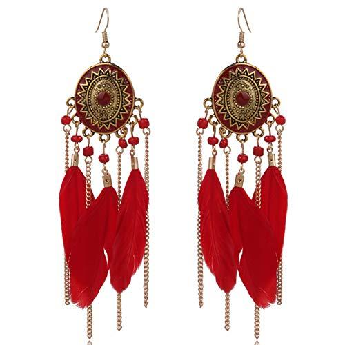 Kanggest -coppia di orecchini pendenti con piume, alla moda per ragazza bohème, orecchini creoli, orecchini per vacanze e spiaggia, gioielli, accessori. 1*1cm rosso
